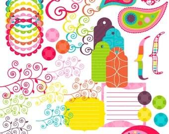 Rainbow Clip Art Digital Frame Paisley Tag Brackets Ampersand Commercial Use Girly Rainbow