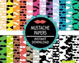 Mustache Digital Paper Backgrounds
