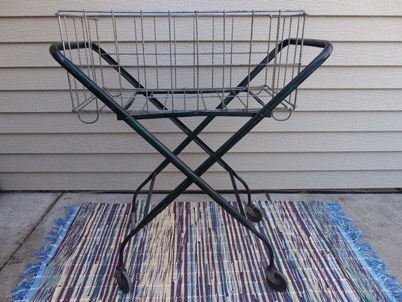 RESERVED FOR TAMMY Vintage Green Metal Rolling Laundry Cart