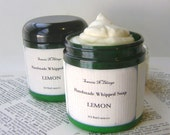Lemon Whipped Soap, Cream Soap in a Jar, Natural Soap with Lemon Essential Oil