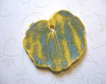 Summer Yellow Ceramic Leaf Pendant