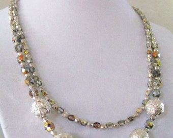 Silver and fire sparkle necklace with earrings