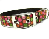 Dog Collar- Pink and Brown Dippin' Dots