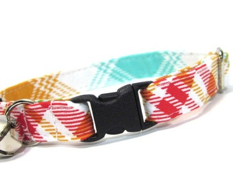 Rusty Red Plaid Cat Collar