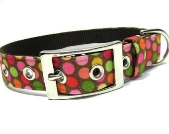 Dog Collar- Pink and Brown Dippin' Dots