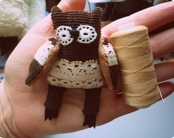Anatol  -  Little  tiny owl, soft art  toy creature  by Wassupbrothers. buho, boho, miniature, blythe friend. MADE TO ORDER