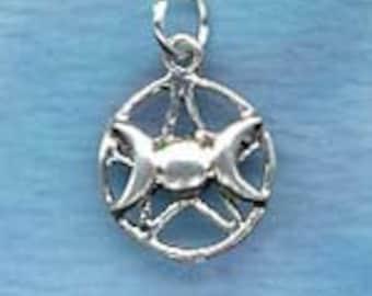 Triple Goddess Pentacle )O( Wiccan Pentagram Jewelry P89