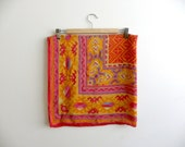 Vintage Adrienne Vittadini Large Bright Silk Scarf - Summer Colors