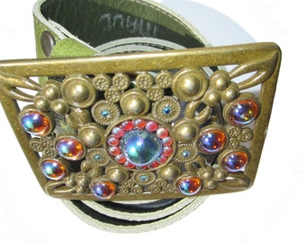 SALE- Vintage 70's brass buckle with paisley embossed leather belt strap