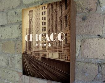 Chicago El - Wood Block Art Print