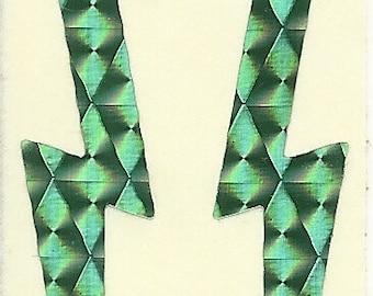 Vintage 80's Prism Green Lightning Bolt Sticker