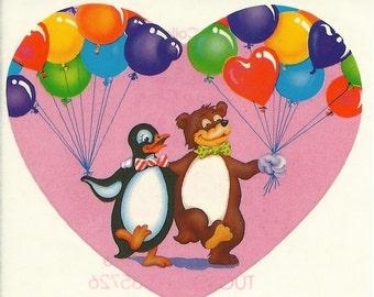 Vintage 80's Lisa Frank Bear and Penguin with Balloons Teddy Bear Heart Sticker