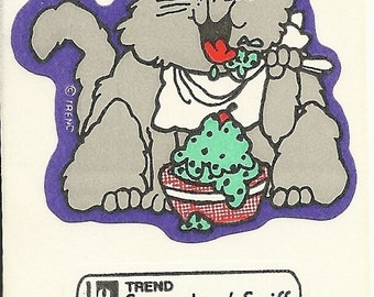 Vintage 80's Trend PEPPERMINT Ice Cream Cat Scratch and Sniff Sticker