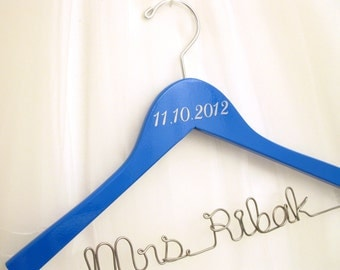 Wedding Date Hanger with Personalized Wire Name - Painted Sapphire, Royal Blue
