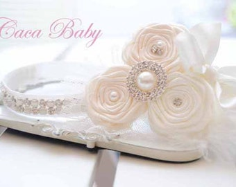 Ivory Chic Couture Headband with Ivory Roses Posh with Pearls  Rhinestones Silk Tulle and Feather