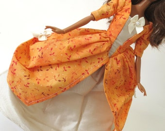 Barbie dress set: Orange Calico with Ivory Skirt