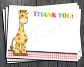 Giraffe Thank You Card - Giraffe Theme Birthday