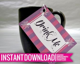 Drink Me Tags - Wonderland - DIY Printable - Instant Download