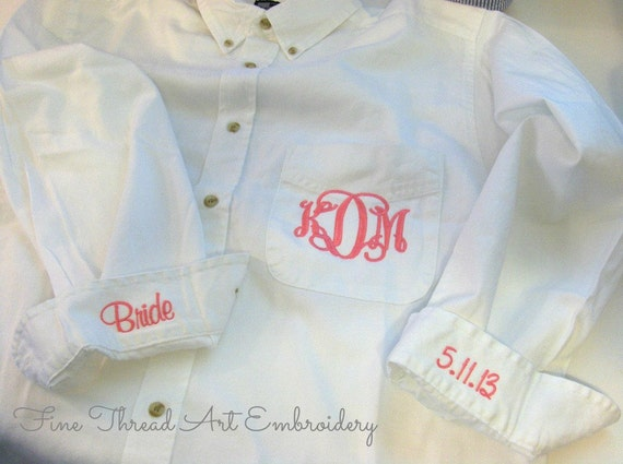 Oxford shirt with cuff embroidery monogram by