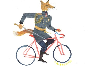 amira vos fox bicycle . Doom Division .  print