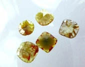 DiAMOND SLiCES. Faceted. Natural. Red / Orange Inclusions on Yellow Body. Free Form. 1 pc. 0.74 cts. 7.0x7.2 mm (DIA272B)
