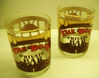 two vintage on the rocks glasses by houze ..  gift for dad