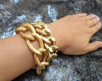 Cabana, Chunky Chain Double Wrap Bracelet,  18k Gold/Light Gold Color