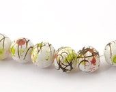 1 x 78cm (30.7 INCHES) Strands(about 100PCs) White Mottled Glass Round Loose Beads 8mm