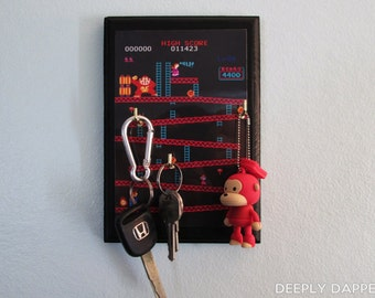 Donkey Kong Key Hanger - COMPLETED Classic Video Game Key Hook
