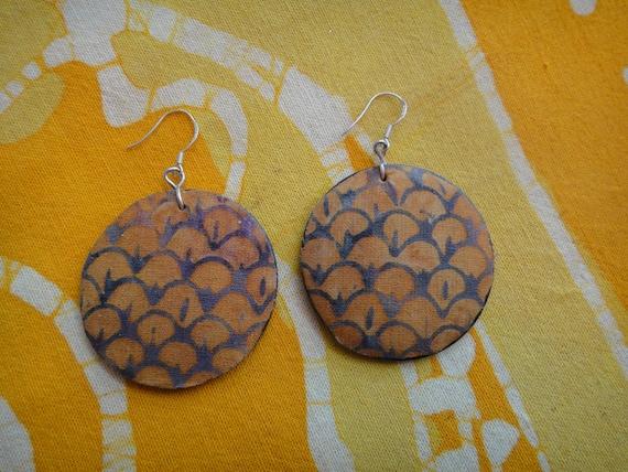 Orange Petal Batik Fabric Earrings African Wax Print Tie Dye Hippie Boho