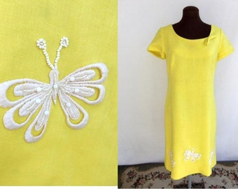 Vintage 60s Dress with Beaded Butterfly Appliques Yellow Linen Designer Size M / Medium