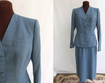 Vintage 50s Suit Two Piece Jacket and Skirt in Dusty Blue Gray Mid Century