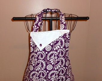 Purple and White Floral Apron