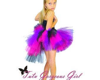 Hot Pink Purple and Black Rock Star Bustle Tutu...Punk Rock Tutu, Photo Prop, Birthday Tutu...Infant, Toddler, Girls . . . GLAMTASTIC