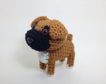Boxer Amigurumi Dog Crochet Dog Handmade Stuffed Animal Doll Puppy Plush / Made to Order