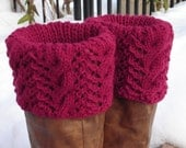 Boot Toppers - Claret Cables & Lace