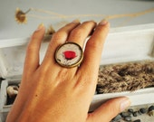 Red poppy ring from resin - flower ring print, brown jewelry, gift for her for girl, boho, black, beige - made to order