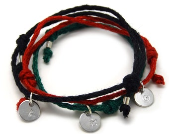Success, Wisdom and Prosperity bracelet set- 3 silver pendants on colorful linen threads