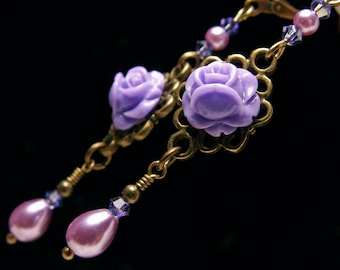 Purple Rose Victorian Earrings, Tanzanite Crystal Pearl Vintage Steampunk Bridal Style, Antiqued Brass Filigree Titanic Temptations Jewelry