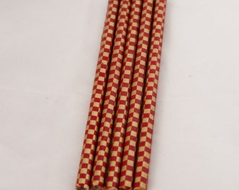 set of 5 - Red and Gold Checkered Pencils