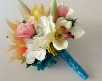 Tropical Wedding Bouquet, Lily Bouquet, Beach Wedding, Destination Wedding Flowers, Pink or Peach Lily Bouquet, Cymbidium Orchid Bouquet