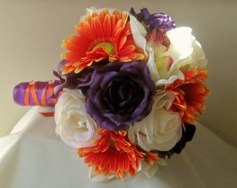 Purple and Orange Bridal Bouquet, Rose and Gerbera Daisy Bouquet, Fall Wedding Bouquet, Orchid and Gerbera Bouquet, Silk Wedding Flowers