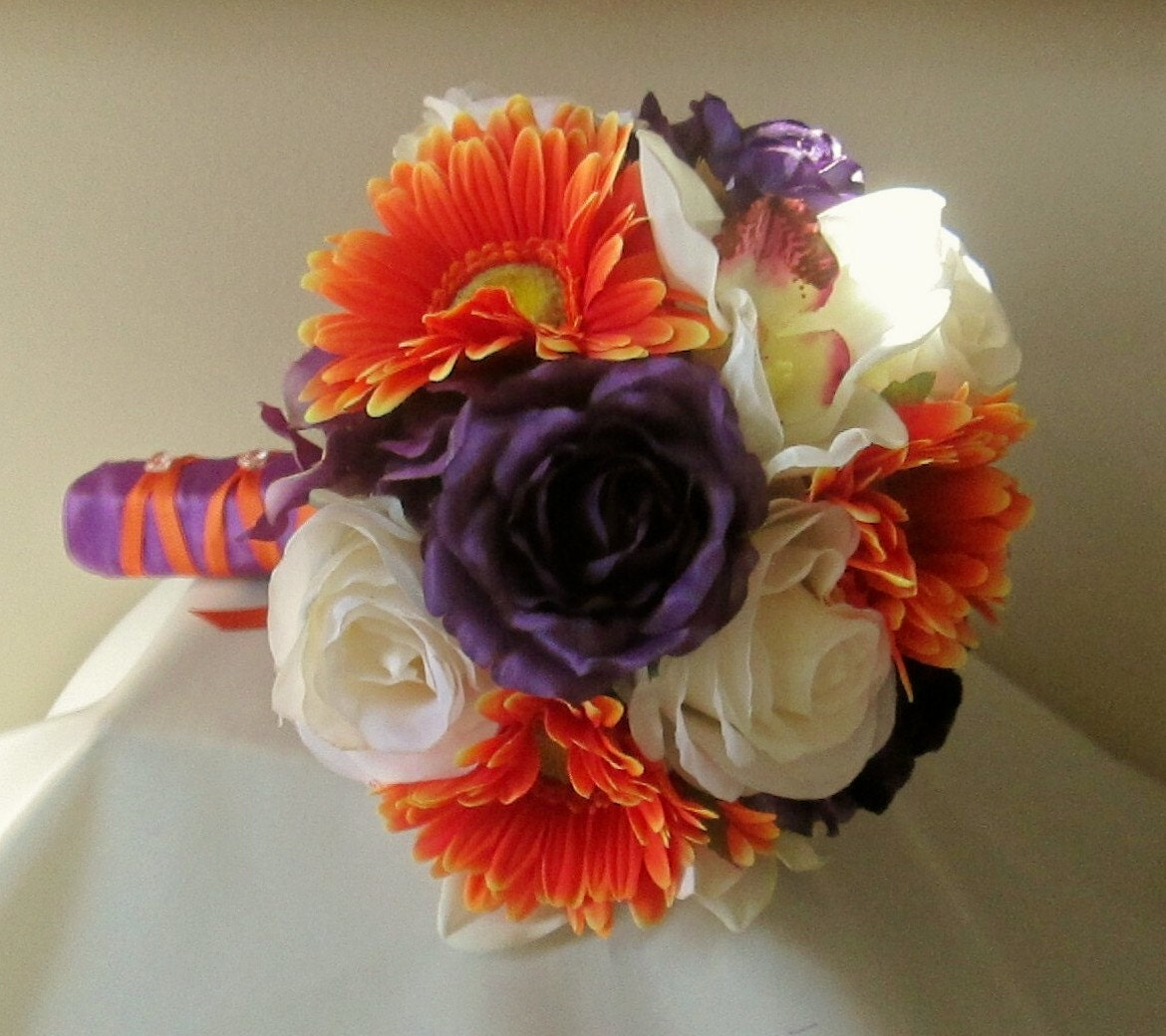 Purple and orange bridal bouquet rose and gerbera daisy zoom dhlflorist Image collections
