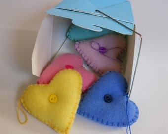 Heart Ornaments -  Wool Pastel Hearts - Little Puffy Hearts in a Take out Carton - Love Decorations