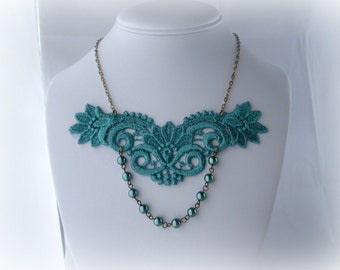 Teal Pearl Lace Necklace, Victorian Style Necklace, Boho Lace Necklace - 60% OFF - JASMINE