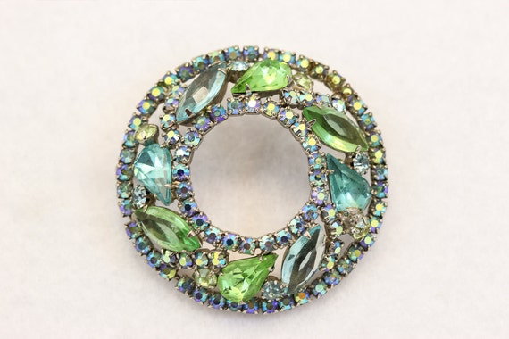 Vintage Weiss Rhinestone Brooch 1950s Blue and Green 2261