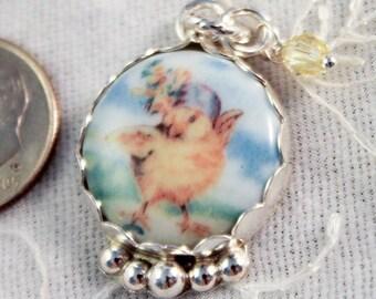 Easter Dancing Chick Sterling Silver Swarovski Crystal Charm Porcelain Pendant