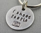 Photographer I Shoot People Camera Hand Stamped Keychain by TheCopperFox