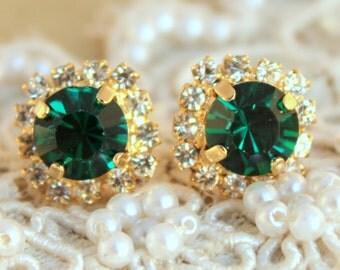 Emerald Stud Earrings,Emerald Crystal Earrings,Emerald Green Swarovski Stud Earrings,Bridal Crystal Earrings,Bridesmaids Emerald earrings