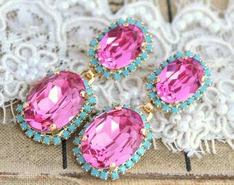 Pink and Turquoise Crystal chandelier earrings - 14 k gold plated earrings real swarovski rhinestones .